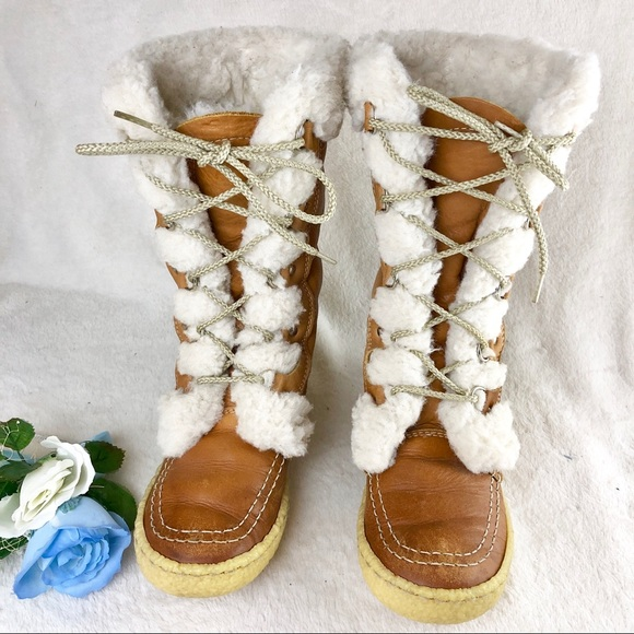 5e016db2b9ccc Vintage Cabelas Wool Lined Lace Up Snow Boots 6